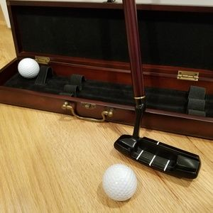 Executive Golf Putter Set Cherry Wood Case Bombay